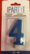 Number Four Glitz Birthday Cake Candle